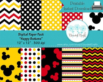 """Happy Buttons Inspired Digital Paper Pack (12) - 12""""x12"""" 300 DPI"""