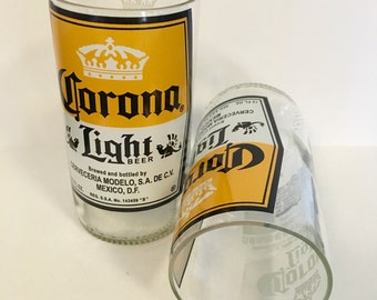 Corona Light Beer Bottle Tumbler Drinking Glasses. Recycled Glass Bottles. Man Cave Cups.