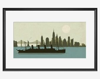 New York Skyline print, New York art, Titanic print, Titanic art, Titanic ship, Titanic poster, Titanic gift, Manhattan print, Manhattan art