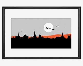 Oxford Skyline print, Oxford print, Oxford art, Oxford poster, Oxford witches, Witches art, Witches print, Witches illustration, Witches