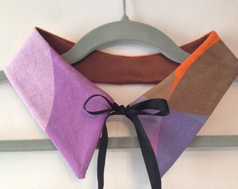 Cotton and faux leather collar