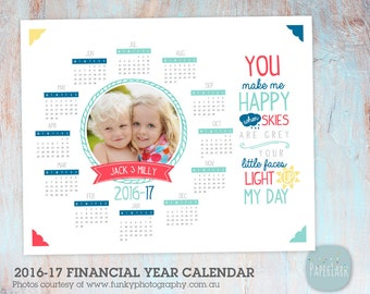 2016 2017 Calendar Photography Template - 2016-17 Financial Year Dates Included - Photoshop template - GG015 - INSTANT DOWNLOAD