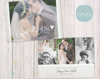 SALE NOW ON Wedding Thank You Card - Photoshop template - Aw020 - Instant Download
