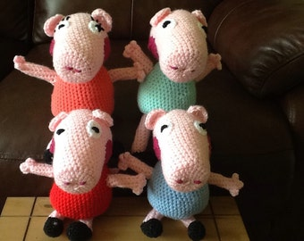 Peppa pig, George pig, daddy pig and mummy pig family hand crocheted