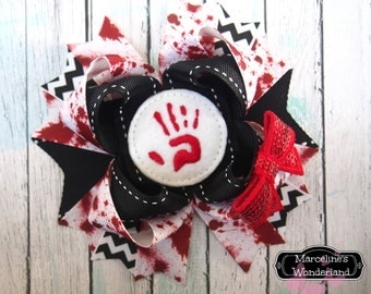 Zombie Hair Bow - Bloody Hand Print Bow - Blood Bow - Halloween Bow