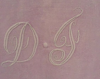 Soft purple tunic, French handmade handcraft, linen , monogram embroidered S : L