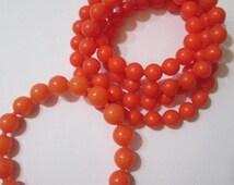 Juicy Orange Necklace and Bracelet 8-10 mm Vintage Pop Beads 1960s Fun Fashion Beaded Necklace