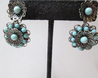 Vintage Filigree Screw Back Earrings Faux Turquoise Trendy Dangle Floral Style 1980's