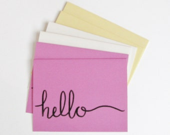 Hello Note Card Set Handlettered Greeting Cards