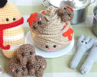 Spaghetti and Meatballs! + Fork, Knife and French Baguette! Amigurumi Food Crochet Pattern