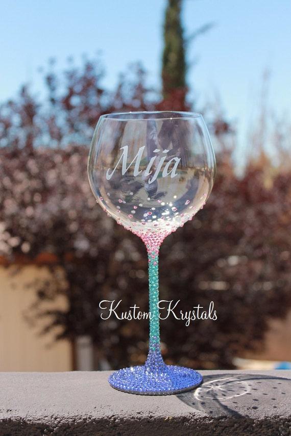 Swarovski crystal embellished lenox crystal wine glass bride - Lenox colored wine glasses ...