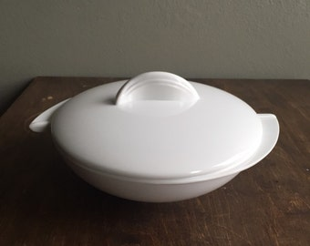Vintage Boonton Melamine White Divided Serving Bowl with Lid