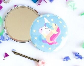 Unicorn mirror, Pocket mirror, Stocking Stuffer, Stocking Filler, Gift Idea Party Favor, Secret Santa Gif, Christmas Gift
