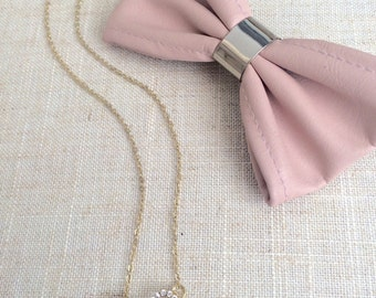 Bow necklace, gold plated bow necklace