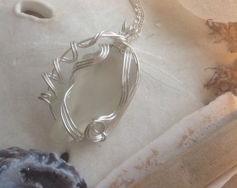 SeaGlass Necklace Genuine Sea Glass from PEI, Wire Wrapped Pendant & Chain