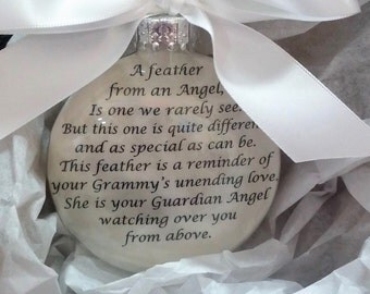 """GRAMMY In Memory Christmas Ornament Gift - """"A Feather From a Guardian Angel"""" Sympathy Memorial Gift - Personalized w/ Name - Custom Keepsake"""