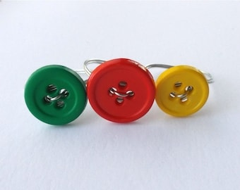 ON SALE Wire wrapped button ring. You choose the color