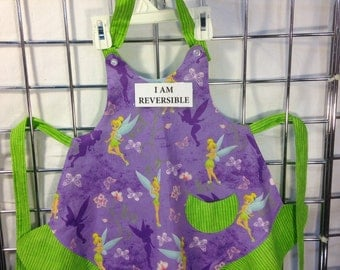 Reversible TINKERBELL Apron, Child Sized with buttoned neck strap that is adjustable on both ends.