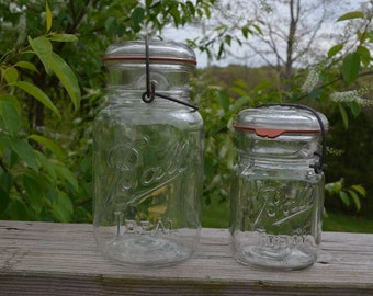SALE - Set Of Two Ball Ideal Canning Jars With Locking Metal Lids