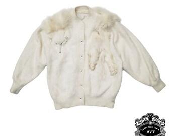 White fox fair angora cardigan sweater