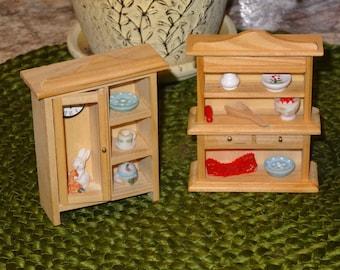 Miniature Hutch / Miniature Cabinet / Miniature Dollhouse Furniture / Dollhouse Hutch / Dollhouse Cabinet