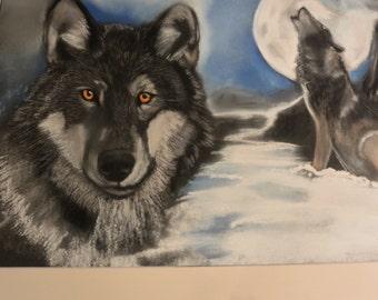 """Mi Mi dog Wolf"""" pastel 30x40cm size"""