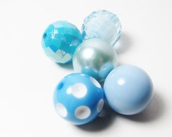 D-01221 - 5 Acrylic beads Bubblegum 20mm