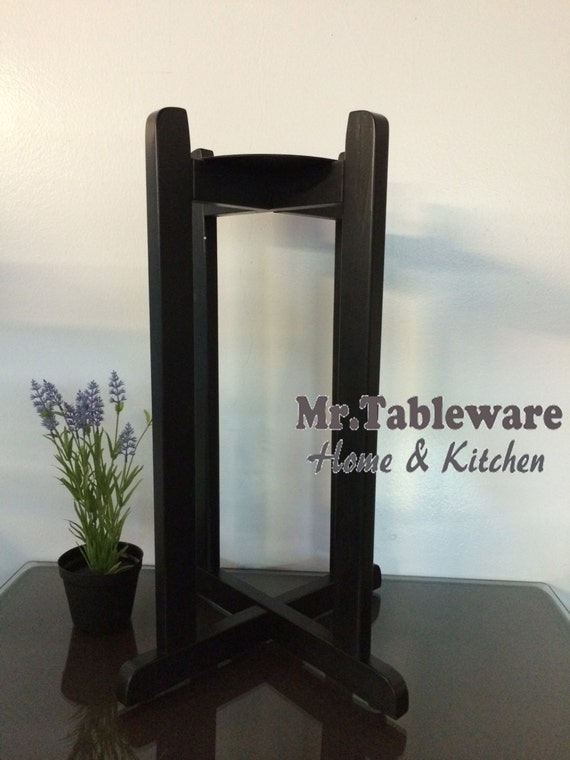 Black Floor Wood Stand For Porcelain Ceramic Water Dispenser