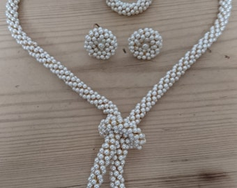 Vintage seed Pearl necklace and earrings set