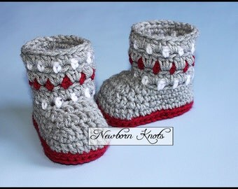 Crochet Pattern Cozy Colors Baby Booties. Pattern number 075. Instant Download