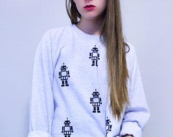 Grey Robot Boxy Sweater