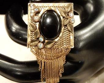 Vintage  Marena (Germany) Black Onyx, AB Rhinestone Dangle Brooch Pendant