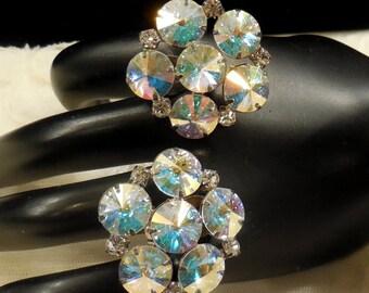 Vintage AB Rivoli and Clear Rhinestone Earrings