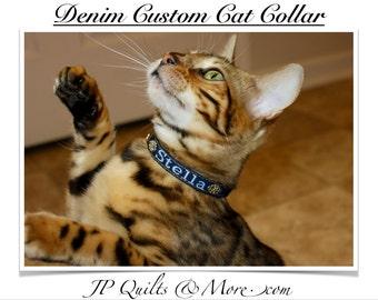 Denim Custom Cat Collar
