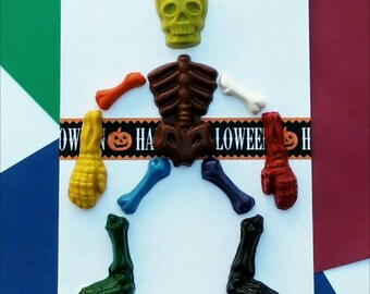 Skeleton crayons card - Halloween card for kids, Halloween gift for kids, Halloween party favors, sugar free Halloween classroom favors