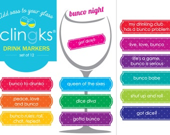 Bunco Night Drink Markers~Bunco-Themed Wine Charms~Funny Wine Gift~Funny Bunco Party Favors~Bunco Wine Gift~Bunco Gift~Clingks Drink Markers