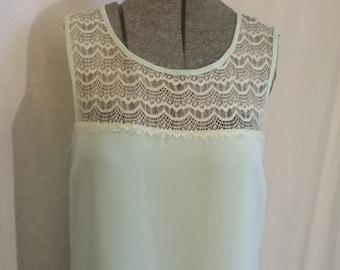 Vintage dress aqua summer breeze dress aqua floor length dress aqua lace summer dress Size medium