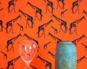 Giraffe Parade Wallpaper - nursery wallpaper - kids wallpaper- children wallpaper orange - baby wallpaper - kids wall decor - giraffe wall