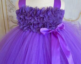 purple chiffon Flower girl tutu dress