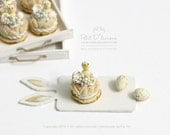Hatching Chick Colourful Candy Eggs Vanilla Paris Brest -ONE- French Pastry in 1/12th miniature dollhouse patisserie