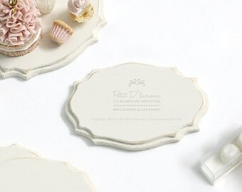 Dollhouse Miniature Accessories-Decorative Wooden Plaque/Serving Platter-ONE- Pattern I