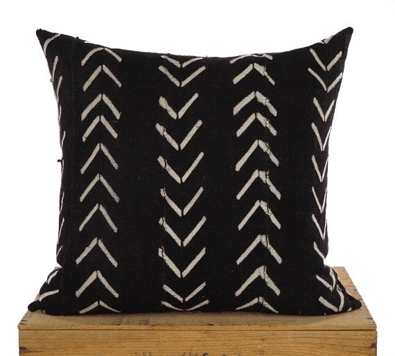 20 Inch Black And White African Mud Cloth Pillow By