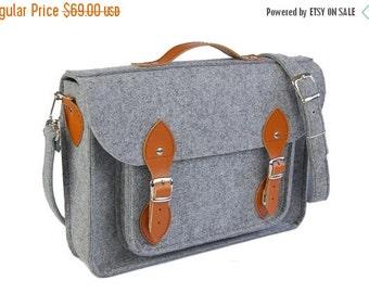 Winter Sale 40% Laptop bag 15 inch with pocket, felt satchel, Macbook Pro 15 in, Custom size Laptop bag, sleeve, case, with leather