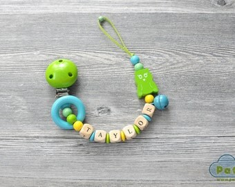 Pacifier Clip, Personalized Baby Pacifier Clip, Dummy, Binky Holder Clip, Wood Beads