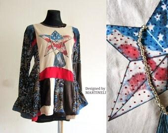 American Flag Dress Boho Gypsy Dress Hippie Dress Recycled Dress Hippie Top Sweater Dress Recycled Clothing Patchwork  Dress Tshirts Recycle