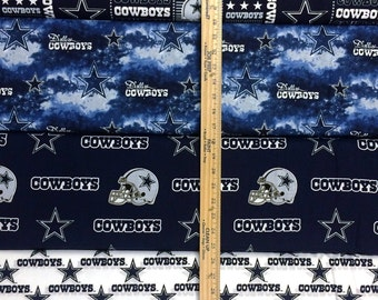 NFL Logo Dallas Cowboys Navy & Silver with Blenders Cotton Fabric by Fabric Traditions! [Choose Your Cut Size]