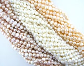 """50% OFF 16"""" 50pcs 8-9.5mm Fresh Water Culture Off-Round Potato Shape Nugget Pearl Beads Necklace Side Drilled 001115"""