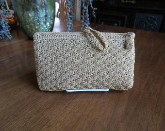 Gold Lame Crochet Clutch