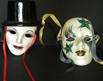 Vintage Porcelain Mardi Gras Masks Wall Decor