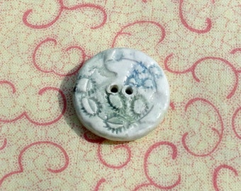 170: Ceramic Button With Blues and Greens